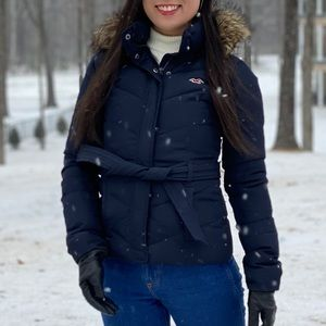 Navy Hollister Down Puffer Jacket with Hood XS